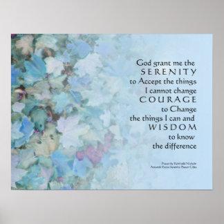 Serenity Prayer Blue Leaves Print