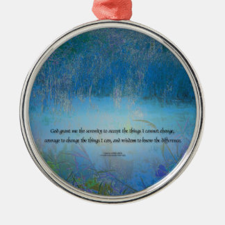 Serenity Prayer Blue Marsh Metal Ornament