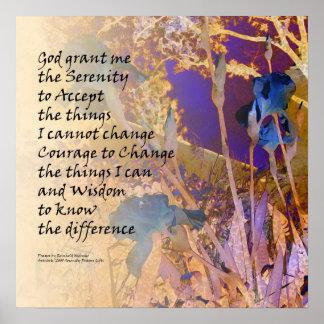 Serenity Prayer Blue & Orange Iris Poster