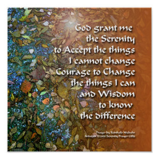 Serenity Prayer Blue Orange Leaves Poster