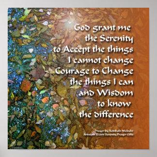 Serenity Prayer Blue Orange Leaves Poster