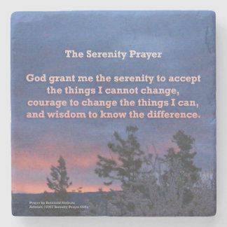 Serenity Prayer Blue Pink Sunrise Stone Beverage Coaster