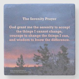 Serenity Prayer Blue Pink Sunrise Stone Coaster