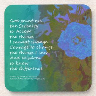 Serenity Prayer Blue Roses 2 Beverage Coaster