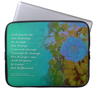 Serenity Prayer Blue Roses 2 Laptop Computer Sleeve