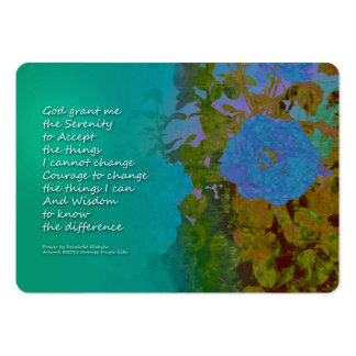 Serenity Prayer Blue Roses 2 Large Business Card