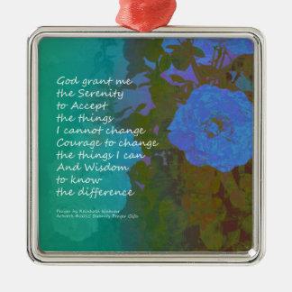Serenity Prayer Blue Roses 2 Metal Ornament