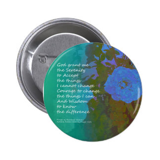 Serenity Prayer Blue Roses 2 Pinback Button