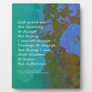 Serenity Prayer Blue Roses 2 Plaque