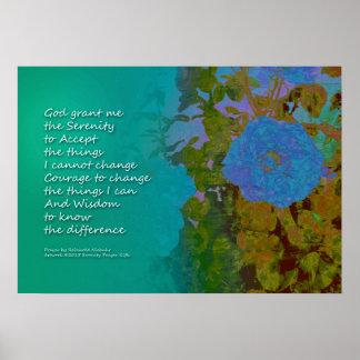 Serenity Prayer Blue Roses 2 Poster