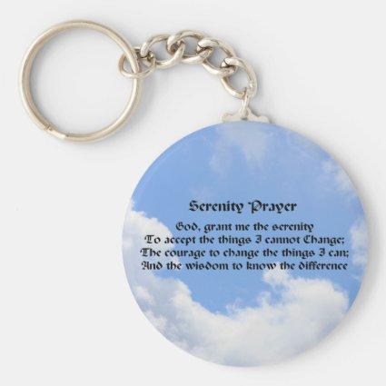 Serenity Prayer Blue Sky Inspirational Keychain