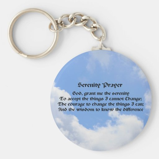 Serenity Prayer Blue Sky Inspirational Keychain