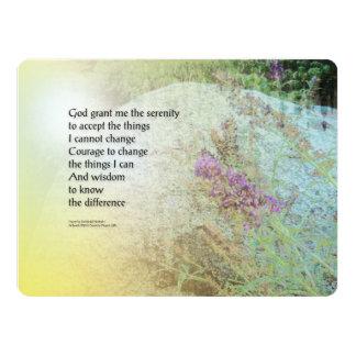 "Serenity Prayer Boulder and Butterfly Bush 6.5"" X 8.75"" Invitation Card"