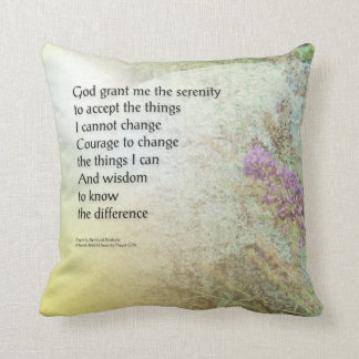 Serenity Prayer Boulder and Butterfly Bush Throw Pillows