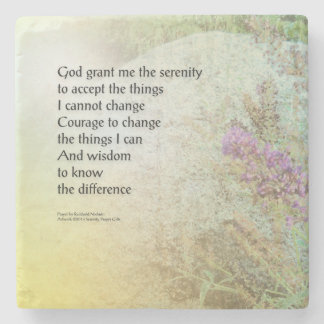 Serenity Prayer Boulder and Butterfly Bush Stone Coaster