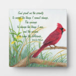 Serenity Prayer - Bright Red Cardinal Plaque