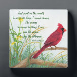 "Serenity Prayer - Bright Red Cardinal Plaque<br><div class=""desc"">This plaque features &quot;The Serenity Prayer&quot; with a bright red Cardinal in the background. The plaque would be a nice gift for anyone who appreciated this prayer and loves nature.</div>"