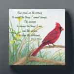 """Serenity Prayer - Bright Red Cardinal Plaque<br><div class=""""desc"""">This plaque features &quot;The Serenity Prayer&quot; with a bright red Cardinal in the background. The plaque would be a nice gift for anyone who appreciated this prayer and loves nature.</div>"""