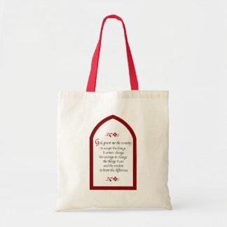 Serenity Prayer-Burgundy Frame/Vintage Tote Bag