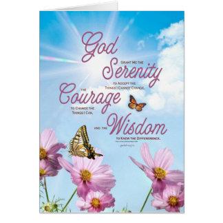 Serenity Prayer: Butterflies, Pink Flowers Card