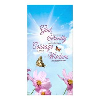 Serenity Prayer: Butterflies, Pink Flowers, Streng Card