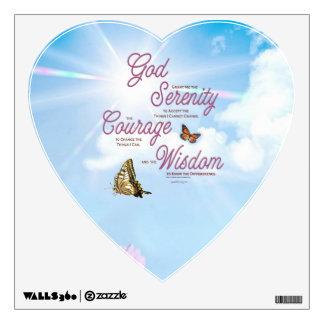 Serenity Prayer: Butterflies, Pink Flowers, Streng Wall Decal