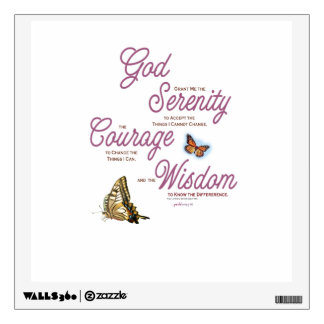 Serenity Prayer: Butterflies, Pink Flowers, Streng Wall Sticker