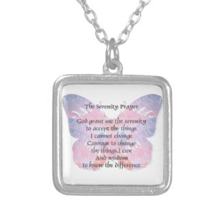 Serenity Prayer Butterfly 2 Square Pendant Necklace