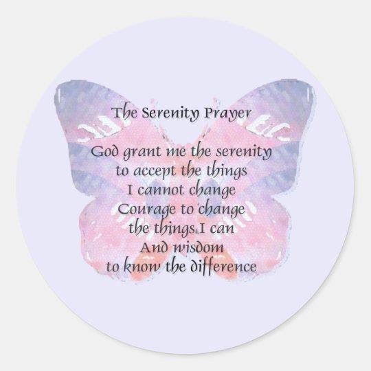 Serenity Prayer Butterfly Classic Round Sticker