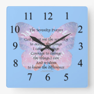 Serenity Prayer Butterfly Wall Clock