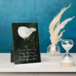 """Serenity Prayer Calla Lily Floral Plaque<br><div class=""""desc"""">Hardboard plaque with hinge that features a glossy photo image of a dramatic,  white Lily against a dark green background accompanied by the inspirational Serenity Prayer. Makes a thoughtful gift for family and friends! To see other products we have to offer,  click on the Northwestphotos store link.</div>"""