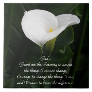 Serenity Prayer Calla Lily Photo Tile