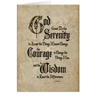 Serenity Prayer: Calligraphy, Antique, Recovery Card
