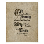 Serenity Prayer: Calligraphy, Antique, Recovery Poster