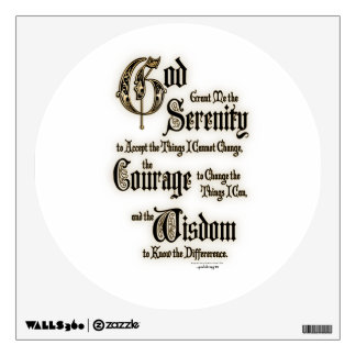 Serenity Prayer: Calligraphy, Antique, Recovery Wall Sticker