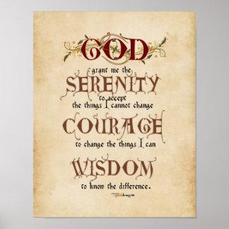 Serenity Prayer: Calligraphy Inspirational Prayer Poster