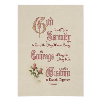 Serenity Prayer: Calligraphy Pink Rose, Recovery Poster