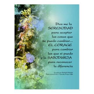 Serenity Prayer Campanulas Spanish Postcard
