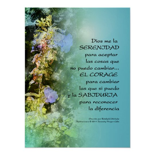 serenity prayer campanulas spanish print