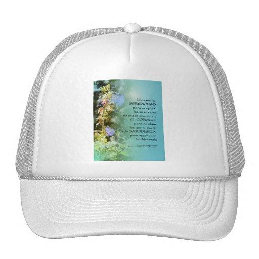 Serenity Prayer Campanulas Spanish Trucker Hats