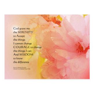 Serenity Prayer Cherry Blossom Glow Postcard
