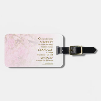Serenity Prayer Cherry Blossoms Luggage Tag