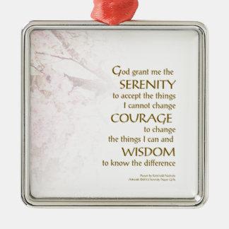 Serenity Prayer Cherry Blossoms Metal Ornament