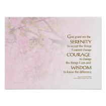 Serenity Prayer Cherry Blossoms Poster
