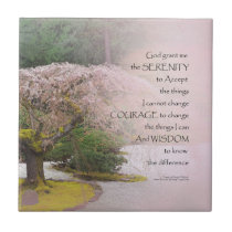 Serenity Prayer Cherry Tree One Ceramic Tile