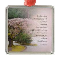 Serenity Prayer Cherry Tree One Metal Ornament