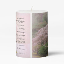 Serenity Prayer Cherry Tree One Pillar Candle