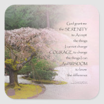 Serenity Prayer Cherry Tree One Square Sticker