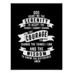 Serenity Prayer - Choose Your Background Color Poster