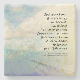 Serenity Prayer Clouds and Highway Stone Beverage Coaster